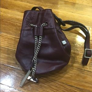 Halston Heritage maroon mini bucket crossbody